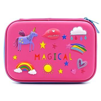 Estuche con diseño de unicornio arcoíris en 3D - Estuche para lápices de colores, grande con compartimentos, bolsa de cosméticos para niños: Amazon.es: ...