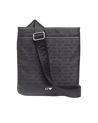 0997f0e9559f9 Armani Jeans Mens Black Logo Medium Stash Cross Body Bag  Amazon.co.uk   Clothing