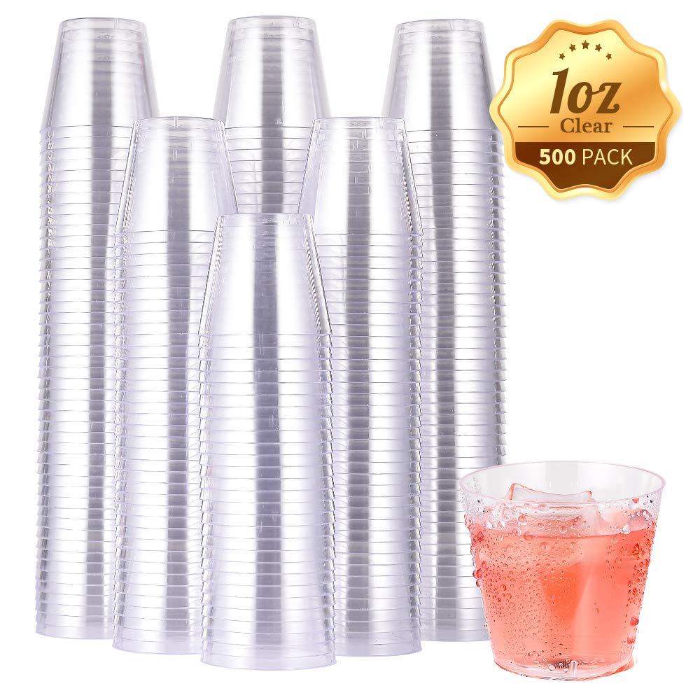 500 PACK Plastic Shot Glasses-1 Oz Disposable Cups-1 Ounce Jello Shot Cups-Party Cups Ideal for Whiskey, Wine Tasting, Food Samples by JOLLY CHEF