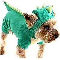 NACOCO Velvet Dinosaur Design Costume Dog Puppy Pet Clothes(Green,L)