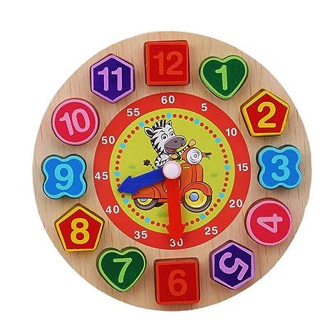 Osayes niños Juguetes Rompecabezas de Madera de Madera de Madera Reloj Digital Reloj cognitivo Rompecabezas Cartoon