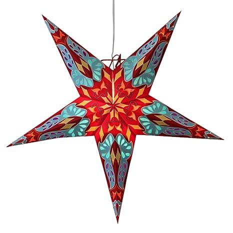 Diwali Decoration Handmade Paper Star Lantern Dara Red66 Cm