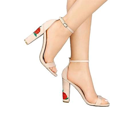 67600256228 Jeff Tribble New Ankle Strap Women Sandals Embroider High Heels Open Toe  Elegant Floral Shoes Black