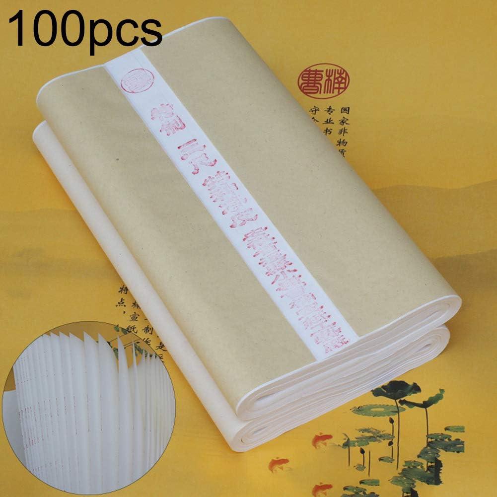Newhashiqi Lot de 100 feuilles de papier de riz pour la calligraphie chinoise 50 x 100 cm blanc