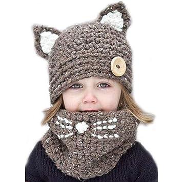 Niñas De Punto Beanie Hat Bufanda Conjunto De Niños Otoño E Invierno Cálido  Sombrero Babero Gorro De Dos Piezas Tejido A Mano De Dibujos Animados Gato  ... c5a5dd3f64c