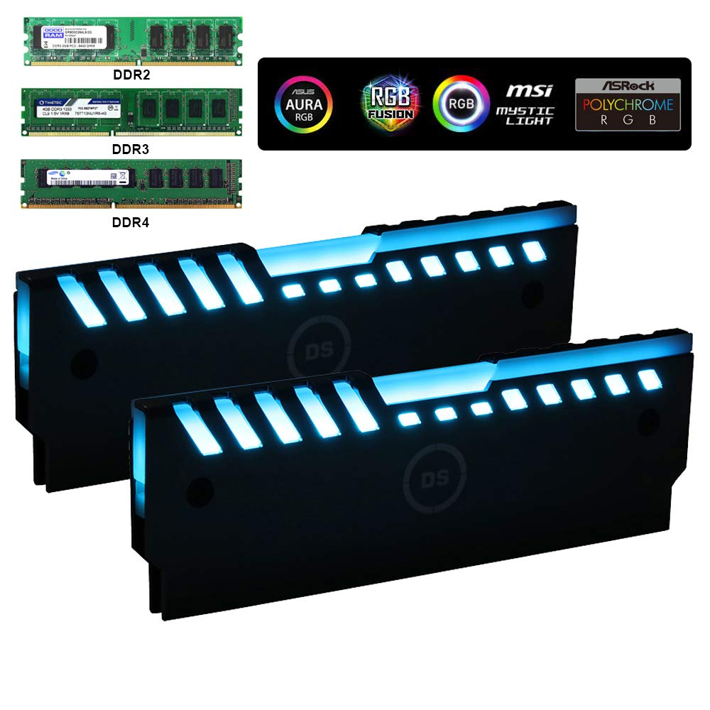 Universal RGB Always on RAM Shell Memory Glowing Heatsink for Computer, LED Cooling Vest Fin Heat Sink for DDR3 DDR4 (M Series)