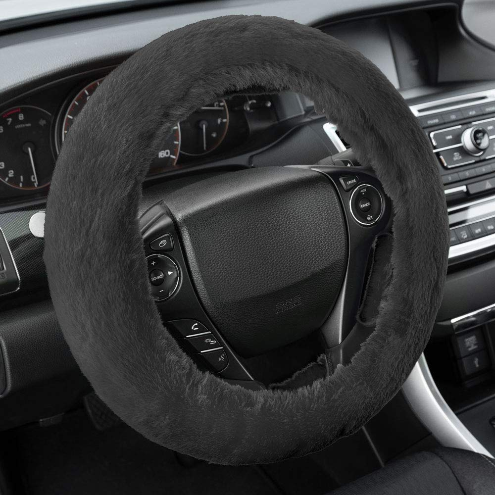 BDK Faux Sheepskin Wool Steering Wheel Cover for Women Universal Fit for Steering Wheel Sizes 14.5 15 15.5 Warm and Cozy Comfort for Hands in Winter Black