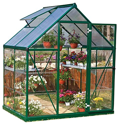 Palram Nature Series Hybrid Hobby Greenhouse - 6' x 4' x 7', Forest Green