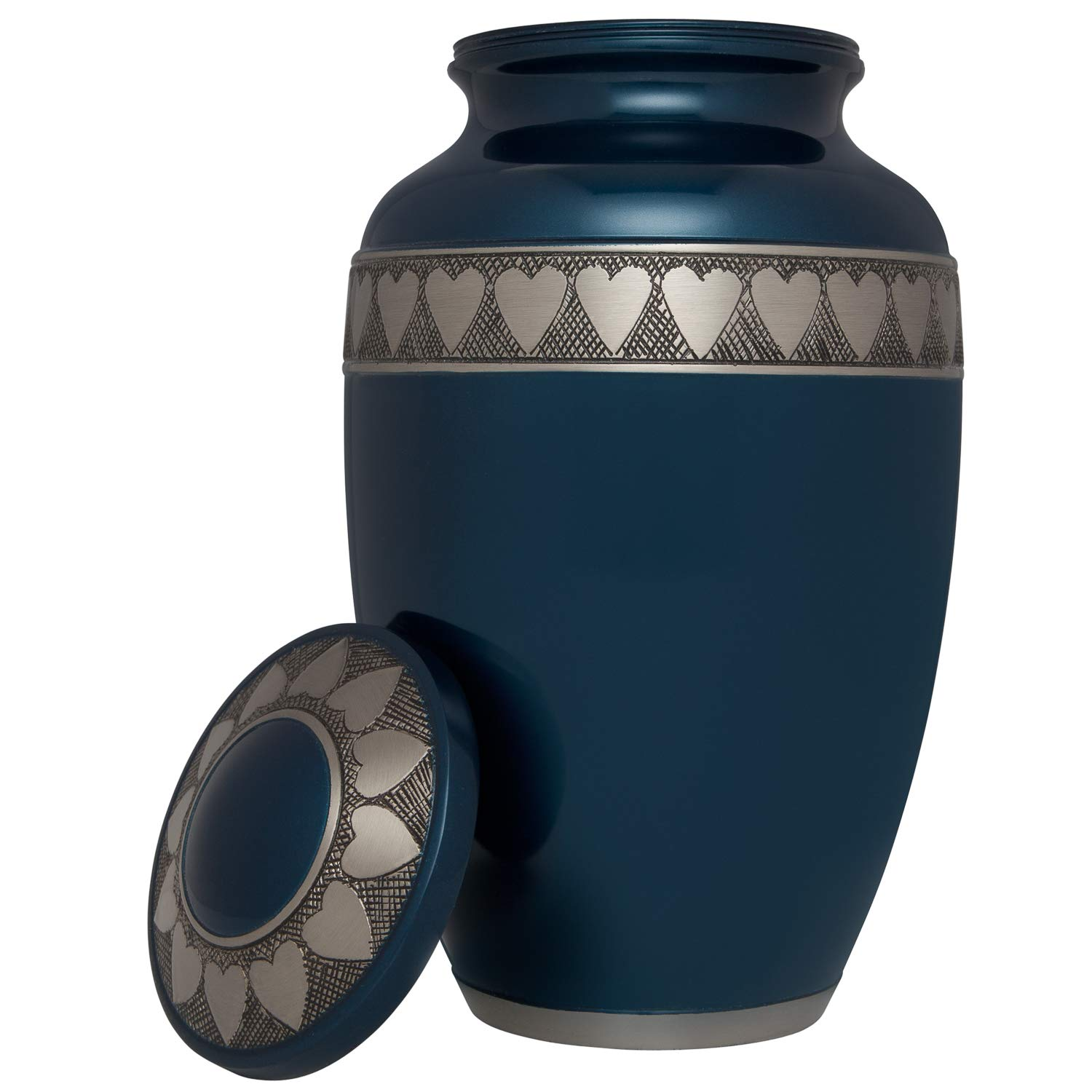 Liliane Memorials Blue Funeral Cremation Urn with Engraved Hearts Corazones Model in Brass for Human Ashes Suitable for Cemetery Burial Large Size Fits Remains of Adults up to 200 lbs, Large 200 lb,