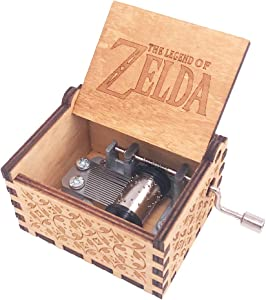 The Legend of Zelda Music Box Hand Crank Musical Box Carved Wooden Music Boxes Mini Size,Play Zelda:Song of Storms from Ocarina of Time,Brown