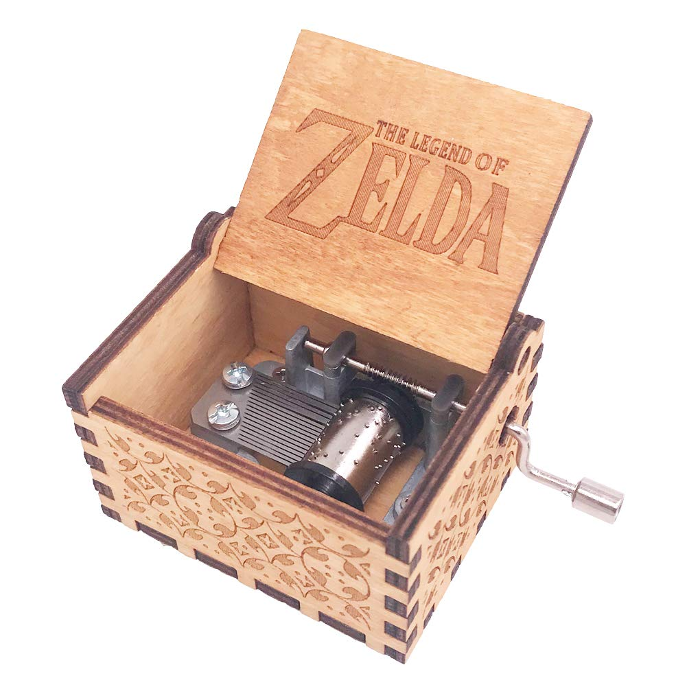 The Legend of Zelda Music Box Hand Crank Musical Box Carved Wooden,Play Zelda:Song of Storms from Ocarina of Time,Brown