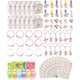 Unicorn Party Supplies Set, Unicorn Birthday Favors Packs Including Bracelets, Stamper, Keychains, Rings, HairClips, Box…