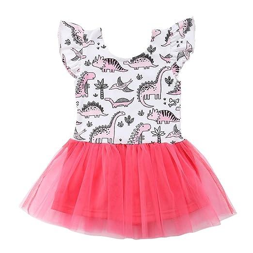 7d19cf3368ef Toddler Baby Girl Animal Flamingo Sleeveless Tutu Tulle Dresses Sundress  Outfits (White, 2-
