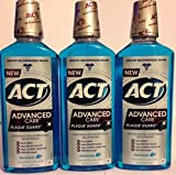 Act Advanced Care Antigingivitis & Antiplaque Mouthwash - Plaque Guard - Frosted Mint Flavor - Net Wt. 18 FL OZ (532 mL) Each - Pack of 3 by ACT