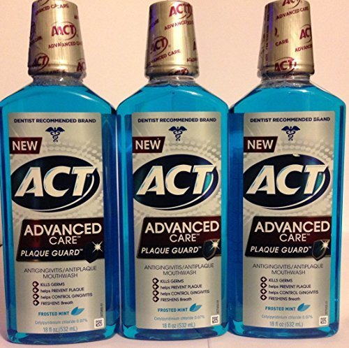 (Act Advanced Care Antigingivitis & Antiplaque Mouthwash - Plaque Guard - Frosted Mint Flavor - Net Wt. 18 FL OZ (532 mL) Each - Pack of 3 by ACT)