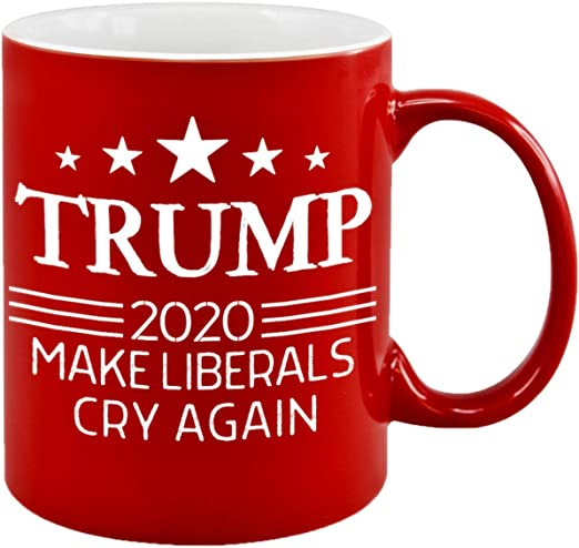 amazon com make liberals cry again donald trump coffee mugs re elect 2020 novelty tea cup potus maga funny gag christmas gift ideas republican conservative patriotic american birthday present for him her dad mom make liberals cry again donald trump coffee mugs re elect 2020 novelty tea cup potus maga funny gag christmas gift ideas republican conservative