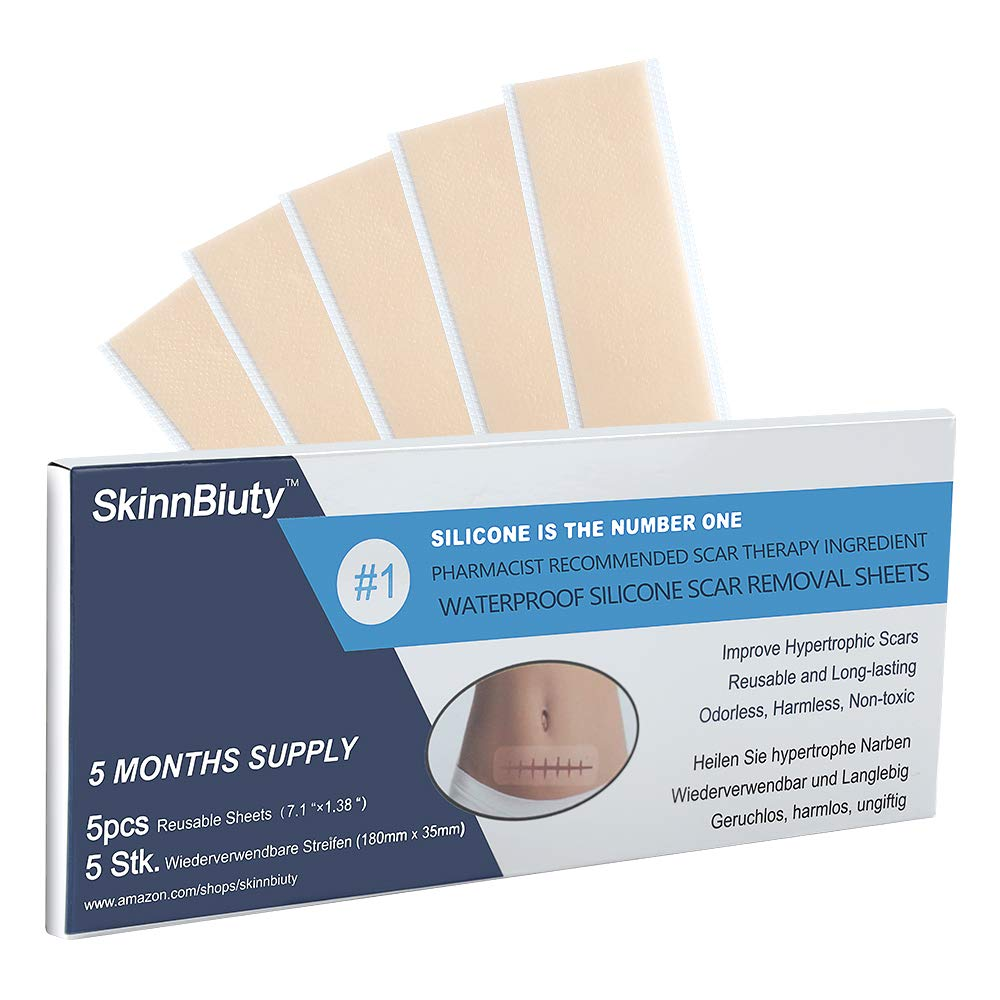 """Professional Soft Silicone Scar Sheets, Prevents & Treats All Scars, Soften and Flattens Scars Resulting from C-section, Surgery, Injury, Burns, Acne, 5.9""""×1.38"""", 5 Sheets(5 Months Supply)… : Beauty"""