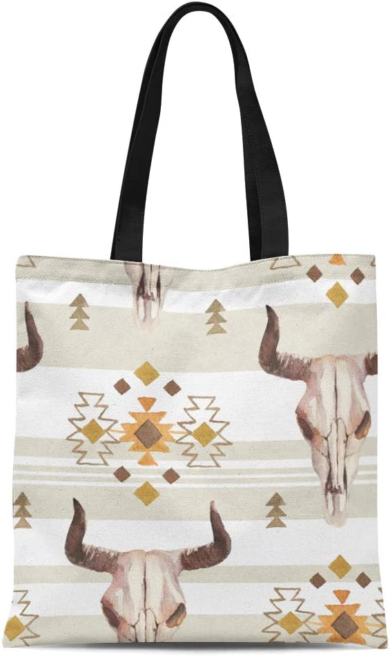 Semtomn Cotton Canvas Tote Bag Watercolor Ethnic Boho of Bull Cow Skull Horns Tribe Reusable Shoulder Grocery Shopping Bags Handbag Printed