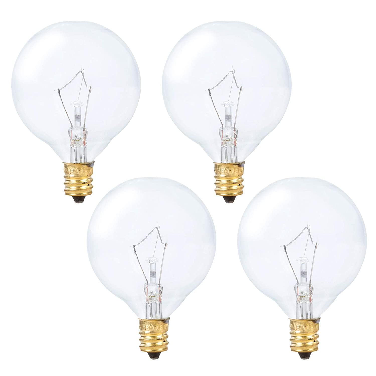 Simba Lighting Scentsy Wax Warmer Small Globe G16.5 Round Bulb 25W E12 Candelabra Base (4 Pack) for Chandelier, Ceiling Fan, Decorative Vanity Lights, Sconce, Clear Glass, 110V 120V, 2700K Warm White