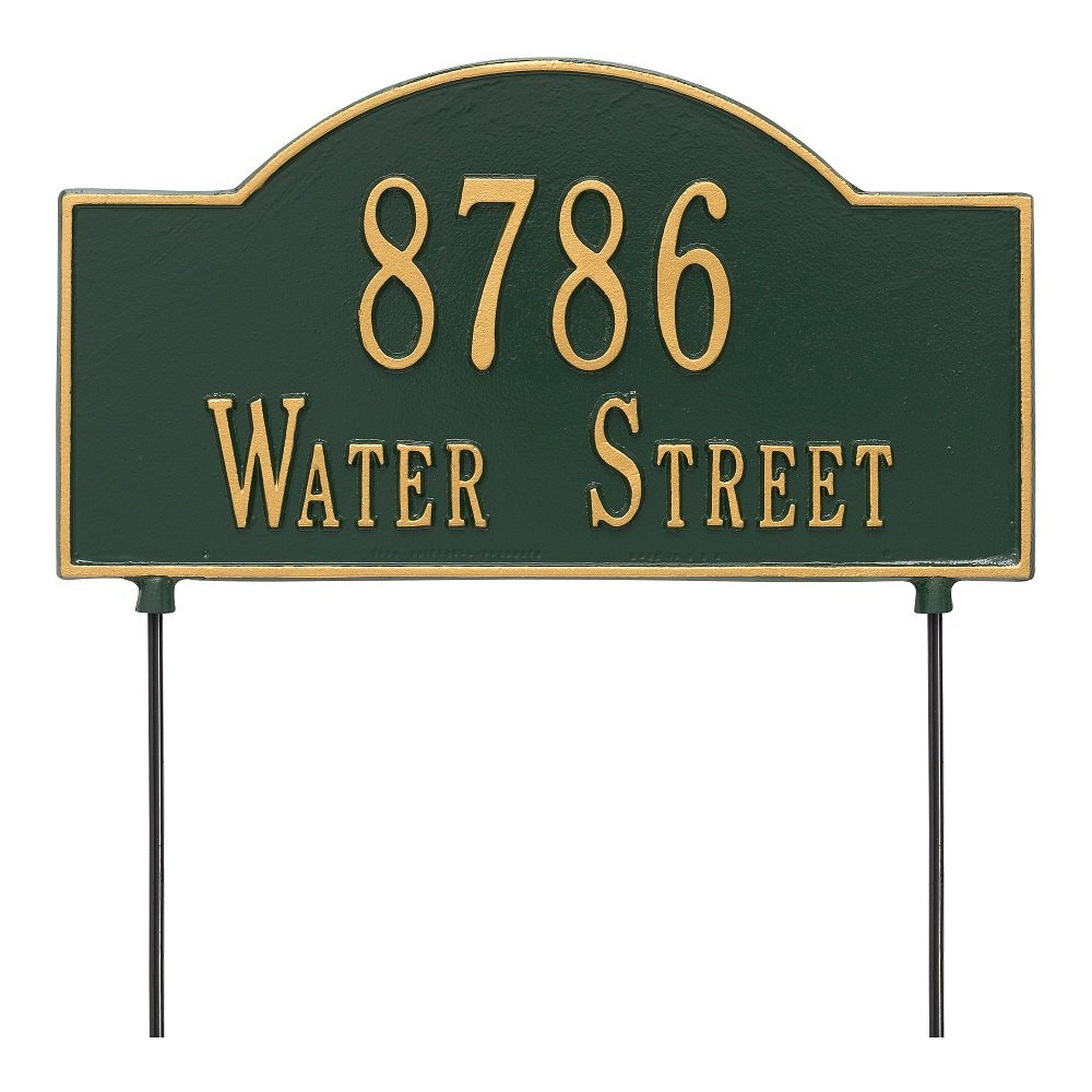 Arch Marker Two-Sided Standard Address Sign Finish: Green and Gold