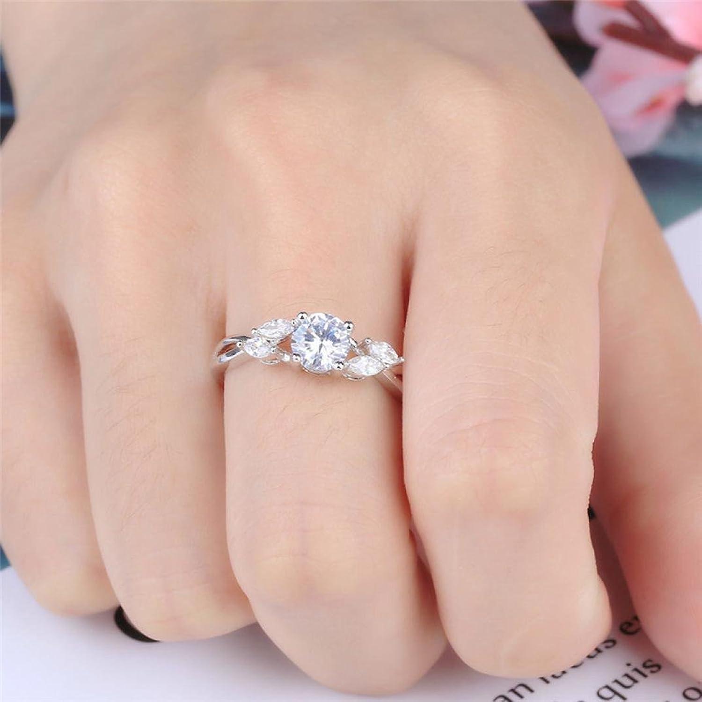 Amazon.com: Joopee Exquisite Women\'s Silver Ring Round Shape Diamond ...