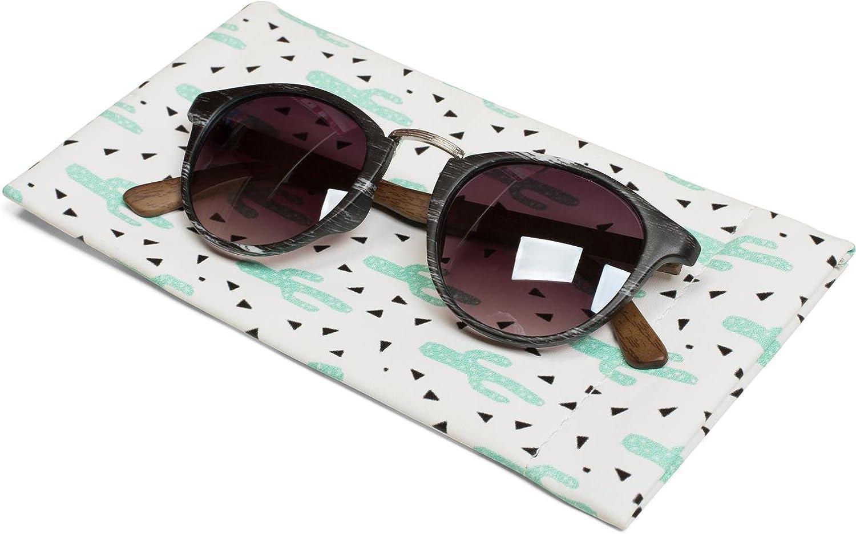 custodia per gli occhiali con chiusura a scatto da donna 09020075 styleBREAKER custodia per gli occhiali con stampa cactus e panno per la pulizia delle lenti