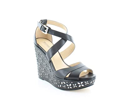 c511d2546e6a2 Michael Kors Womens Sienna Floral Leather Open Toe, Black/Silver, Size 5.0