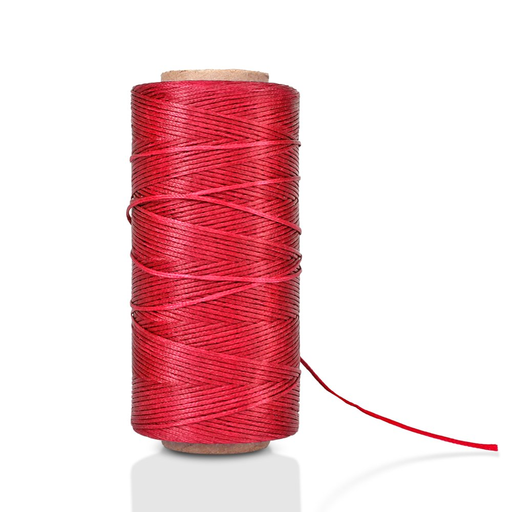 Flexzion Flat Waxed Thread 284Yard 1mm 150D Spool Wax String Cord Sewing Craft Tool Portable for DIY Handicraft Leather Products Beading Hand Stitching Beige