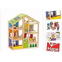 Puppenhaus von Hape ,,4 Jahreszeiten' aus Holz, inkl. Möbel, 35 Teile. Mit Puppenset & Stickerblock. Puppenstube mit Holzpuppen-Familie für Kreativität & Fürsorge. Holzpuppenhaus Sonderedition!