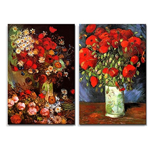 Famous Oil Painting Reproduction Replica Set of 2 Vase with Poppies Cornflowers Peonies and Chrysanthemums Red Poppies by Van Gogh ped x 2 panels