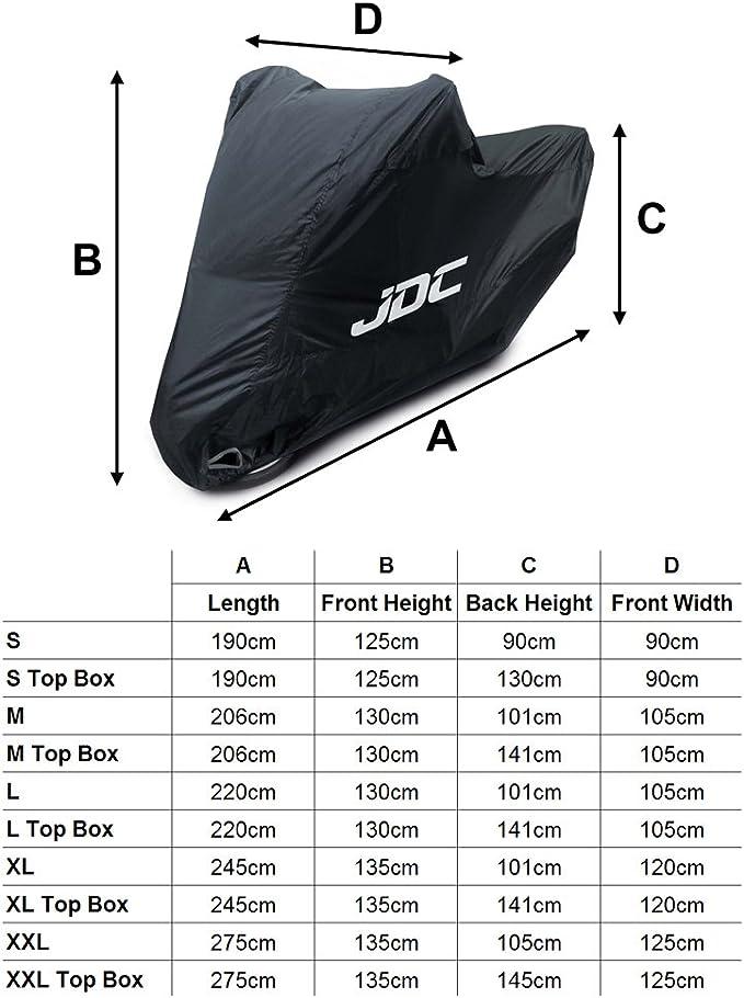 JDC Housse moto 100 /% /étanche Extra robuste, doublure souple, panneaux r/ésistants /à la chaleur, coutures /étanch/éifi/ées - XL Top case ULTIMATE HEAVY DUTY