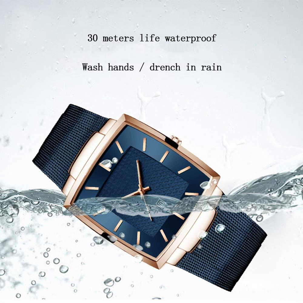 Explosionssäker ultratunn nätrem vattentät kalender kvarts klocka fyrkantig business herrklocka Armband BLÅ BLÅ