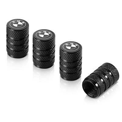 Qideloon Auto Valve Stem Caps,4 Pack Universal Tire Valve Caps with Logo Emblem for Cars, SUVs, Bike and Bicycle, Trucks, Motorcycles Airtight Seal Heavy Duty (BMW, Black): Automotive