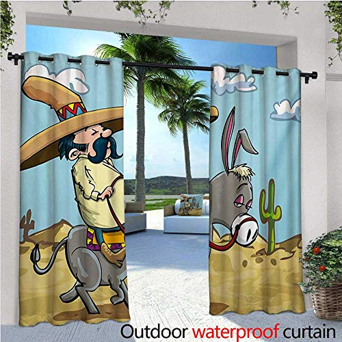 homehot Cartoon Outdoor Blackout Curtains Mexican Man Wearing Sombrero Hat Riding a Donkey in The Desert with Cactus Plants Outdoor Privacy Porch Curtains W96 x L108 Multicolor