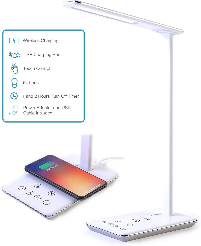 Lámpara Escritorio LED FLUX'S - Carga Inalámbrica Wireless y Puerto USB, Flexo de Lectura con 4 Modos y 10 Niveles de Brillo, Control Táctil Regulable y Temporizador , Bajo Consumo, Anti Fatiga Ojos
