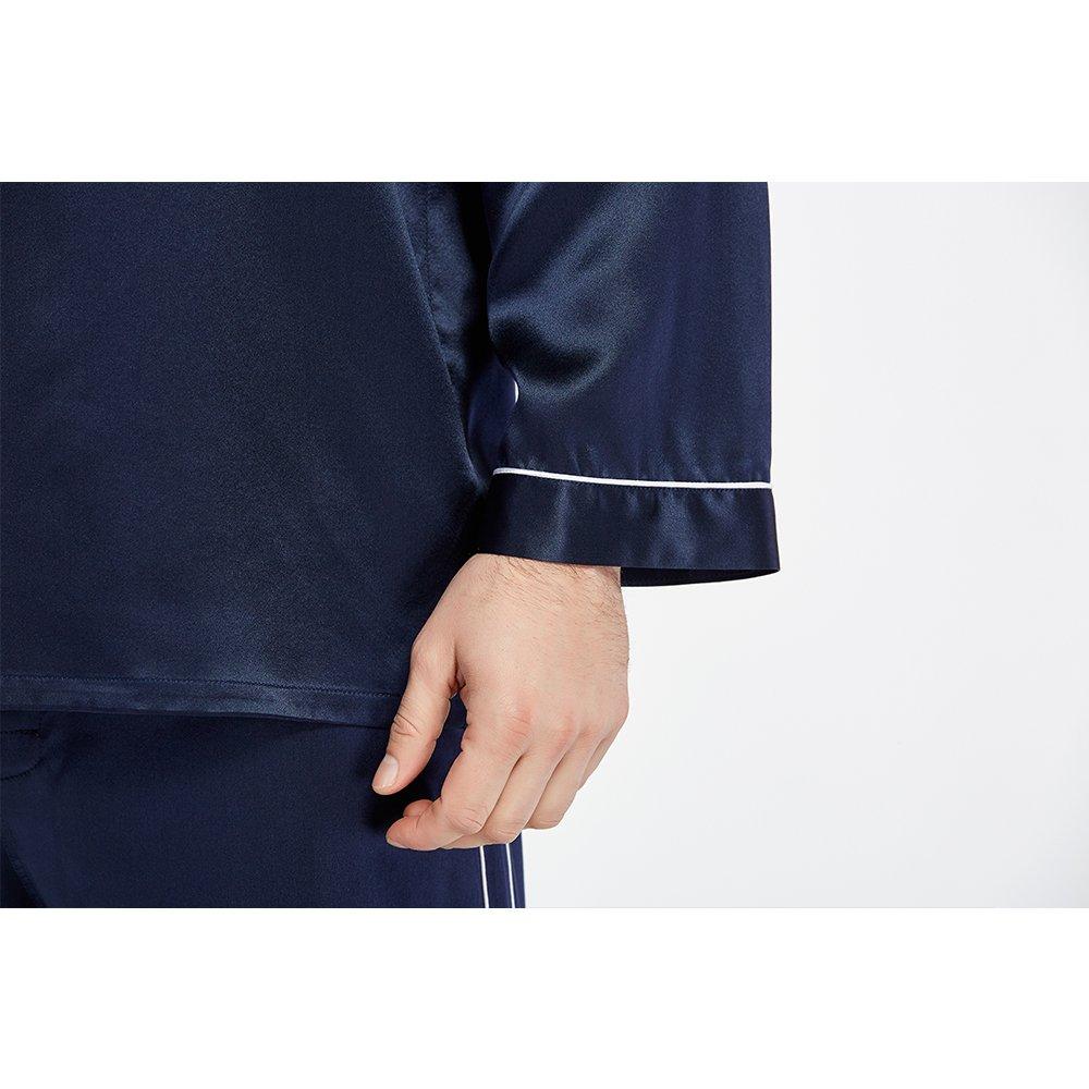 LilySilk Silk Pajamas Set For Men Summer 22 Momme Most Comfortable Sleepwear Navy Blue L by LilySilk (Image #6)