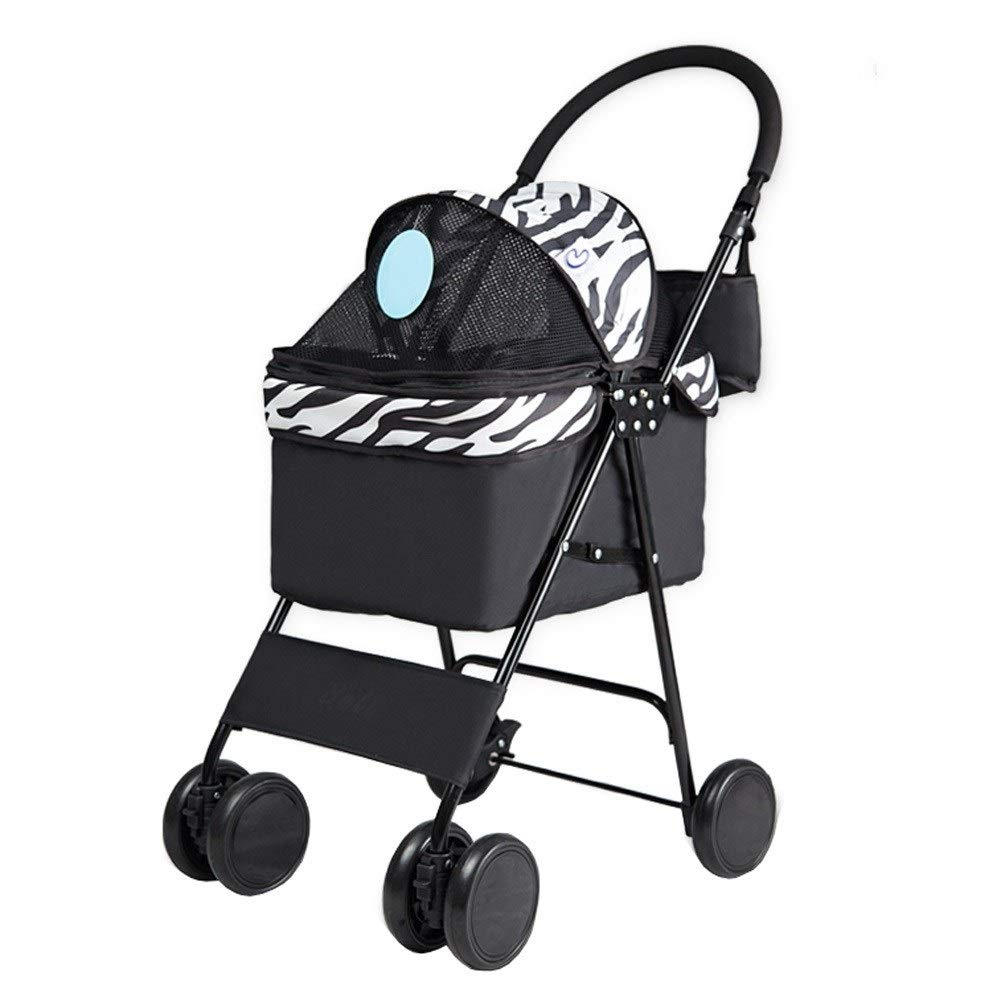 A Dog Pushchair, Rain Wind Cover Foldable Lightweight Pet Trolley Cat Teddy Small Animals 4 Rounds Windproof Rainproof For Travel (color   B)