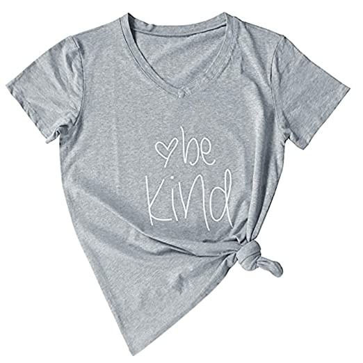 Aniywn Women Daily Letters Print Short Sleeve Tops Loose V-Neck ...