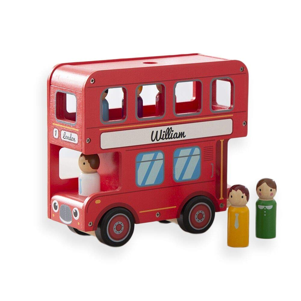 MY 1ST YEARS MADE WITH LOVE Personalized London Double Decker Red Bus Wooden Toy for Kids