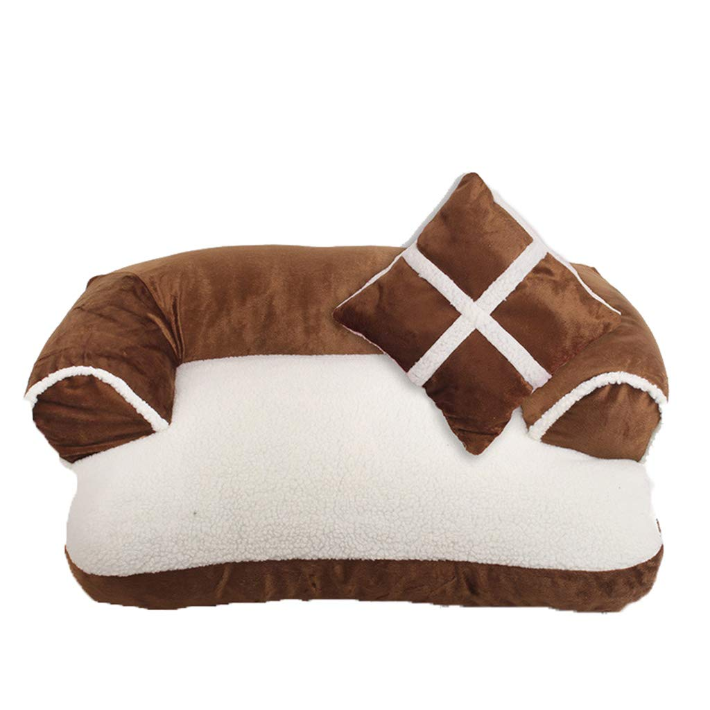 Brown Small Brown Small Qi Cat Dog Bed Pet Supplies Carrier Autumn And Winter Warm Pet Kennel Dog Pad For golden Teddy Large Medium And Small Dogs (color   BROWN, Size   S)