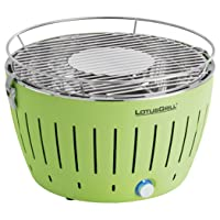 Lotusgrill Serie 340 Grill kleiner Edelstahl Stahl Kunststoff grün BBQ Camping Balkon Picknick ✔ rund ✔ tragbar rauchfrei ✔ Grillen mit Holzkohle ✔ für den Tisch