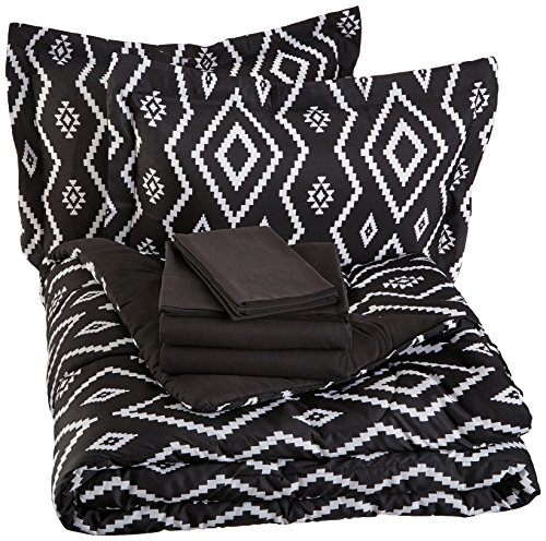 - AmazonBasics 7-Piece Bed-In-A-Bag, Full / Queen Bedding Comforter Sheet Set, Black Aztec