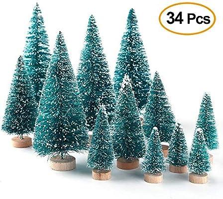Cozyhoma 34 Piezas de Mini árboles de Navidad para decoración de Mesa de árbol de Navidad con Base de Madera y árbol de Pino pequeño, árbol de Navidad para decoración de Mesa