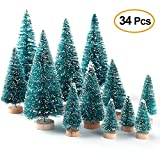 Asodomo 34Pcs Mini Sisal Snow Frost Trees Bottle Brush Trees Christmas Tree Small Pine Tree Home Table Decoration