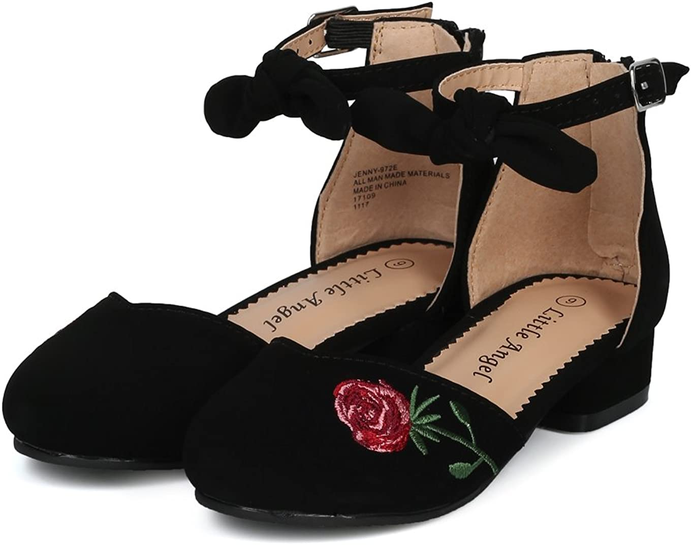 New Girl Little Angel Jenny-972E d/'Orsay Rose Embroidered Bow Ankle Strap Heel