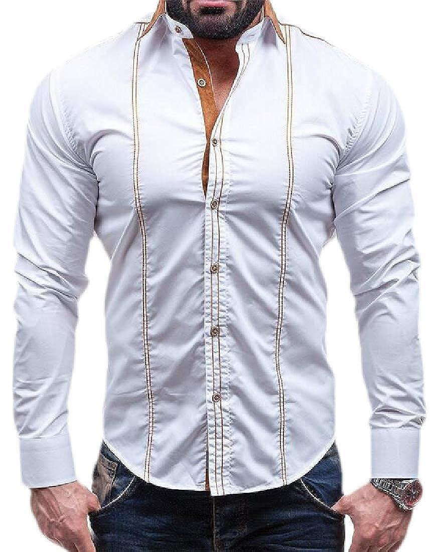 Hajotrawa Mens Casual Long-Sleeve Classic Fit Button Up Shirts