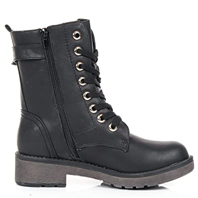 0be1b618a5 SC New Womens Combat Army Military Biker Flat Lace UP Shoes Ankle Boots:  Amazon.co.uk: Shoes & Bags