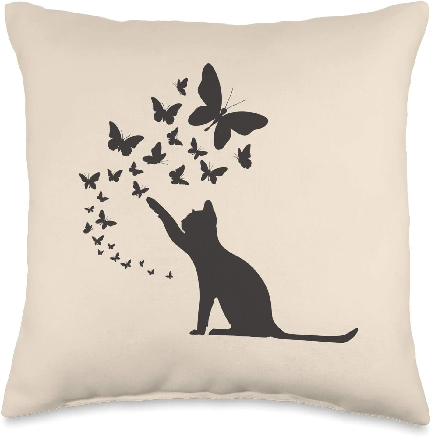 Bold Earth Home Decor by KAEDAM Cute Cat and Butterflies Trendy Coordinating Home Decor Throw Pillow, 16x16, Multicolor