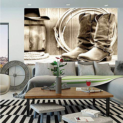 SoSung Western Wall Mural,Traditional Rodeo Supplies with Roper Boots in Vintage Colors Nostalgic Wild Photo Decorative,Self-Adhesive Large Wallpaper for Home Decor 55x78 inches,Black and White