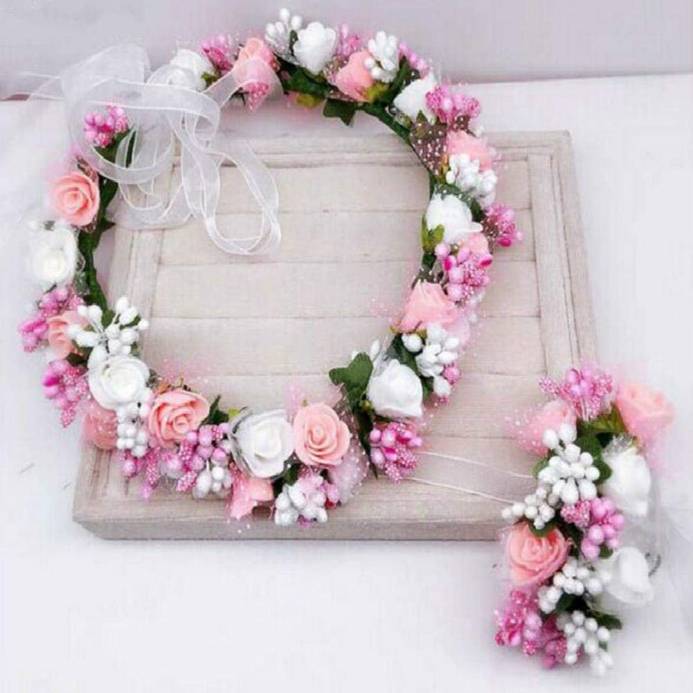 Bride or Bridemaid Hairband Floral Garland Headpiece,Bohemia Styles Girls Rose Flower Crown Headband